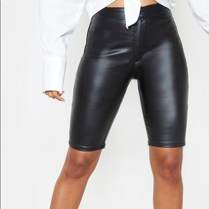 PRETTYLITTLETHING Black Coated Cycling Shorts